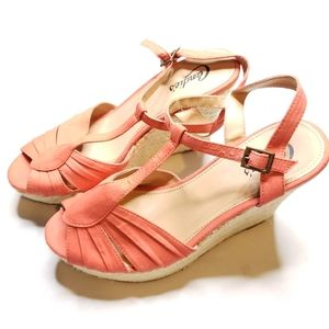 Candies Wedge Peach Coral Strappy Sandals 10M